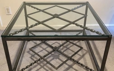 Wrought Iron and Glass Square Coffee Table