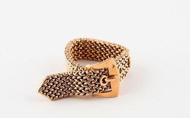 Yellow gold (750) braided mesh belt ring, adjustable....