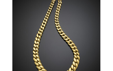 Yellow gold graduated groumette chain necklace, g 56.70 circa, length...