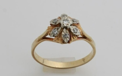 Yellow gold ring, 585/000, with diamond.&#160 Ring with