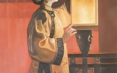 """chinese oil painting - Canvas - 《朱毅勇-中秋月圆》""""Mid-Autumn Festival Night""""In style of Zhu Yiyong - China - 21st century"""