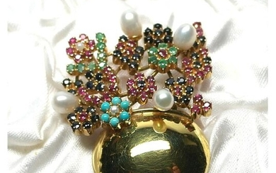 del gian - 18 kt. Yellow gold - Brooch with rubies, sapphires, emeralds, turquoise, onyx and pearls. Brooch from a private collection, unique piece
