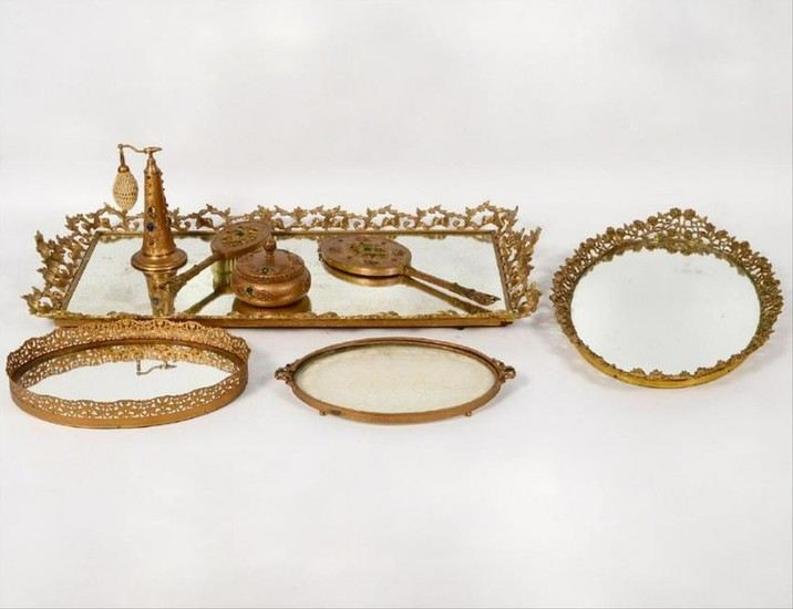 10 Pc. Gilt Bronzed Metal Dresser Set