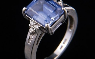 14 kt. White Gold, Sapphire and Diamond Ring