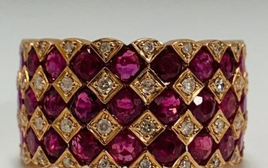 14ct Rose Gold Ruby and Diamond ring featuring,...