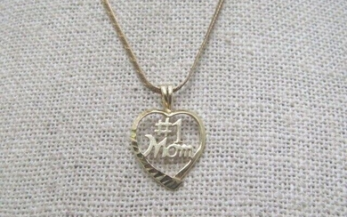 "14kt #1 Mom Heart Necklace, 16"", 1.5mm Herringbone"