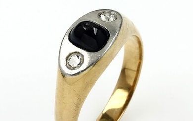 18 kt gold ring with sapphire and...