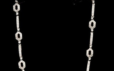 "18k White Gold Diamond Necklace. Size 15"" Weight 30.3 g"
