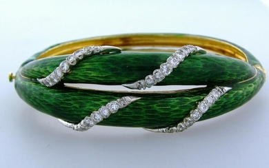 1980s 1.50cts DIAMOND GREEN ENAMEL YELLOW GOLD BANGLE