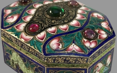 19TH C. INDIAN ENAMEL STERLING SILVER BOX
