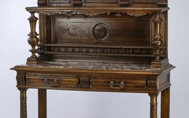 19th c. French marble top walnut buffet