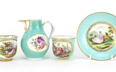 19th century Meissen teaware including two tea cups and