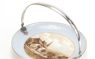 19th century porcelain plate with Continental silver swing h...