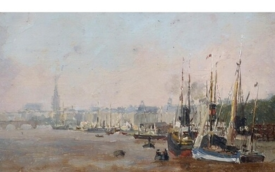 20th Century French School. Ships on the Seine, Paris, Oil o...