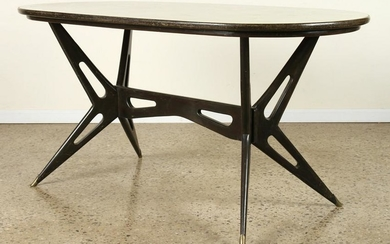 ITALIAN WOOD DINING TABLE MARBLEIZED GLASS TOP