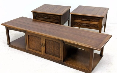3pc American Modern Walnut Coffee Table and End Tables.