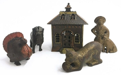 5 ANTIQUE CAST IRON STILL BANKS INC. BUSTER BROWN