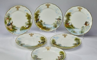 (6) French hand painted porcelain plates, 19th c.
