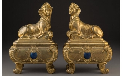 61086: A Pair of Continental Egyptian Revival Sphynx-Fo