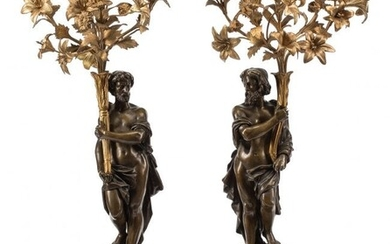 61086: A Pair of Napoleon III Gilt and Patinated Bronze