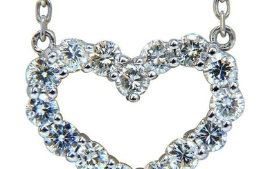 .80 Carat Heart Natural Diamonds Necklace 14 Karat