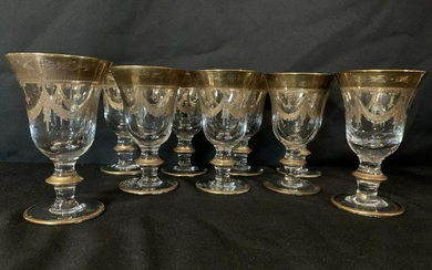 (9) ITALIAN CRYSTAL AND GOLD WATER GLASSES