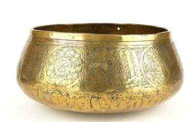 A 14TH CENTURY SYRIAN SILVER INLAID BOWL With organic decor...