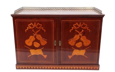 A 19th Century Dutch Mahogany and Marquetry Inlaid Double Door...