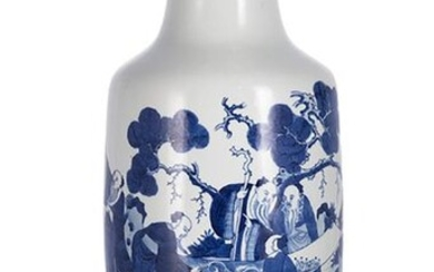 A BLUE AND WHITE ROULEAU VASE WITH TWO SCHOLAR'S AND A POETIC INSCRIPTION, China, Kangxi four-character mark in underglaze blue, 19th ct. - h. 61,4 cm