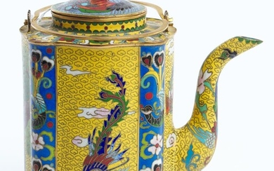 A CHINESE CLOISONNE AND GILT COPPER TEAPOT EARLY 20TH CENTURY