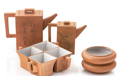 A CHINESE EIGHT-PIECE YIXING TERRACOTTA TEA SERVICE, 20TH CENTURY