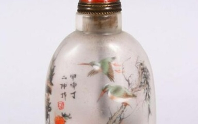 A CHINESE REVERSE PAINTED GLASS SNUFF BOTTLE, depicting