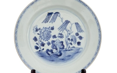 A CHINESE UNDERGLAZE BLUE AND WHITE PORCELAIN PLATE