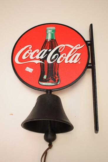 A COCA-COLA METAL WALL MOUNTED BELL (35H x 25W CM) (LEONARD JOEL DELIVERY SIZE: SMALL)