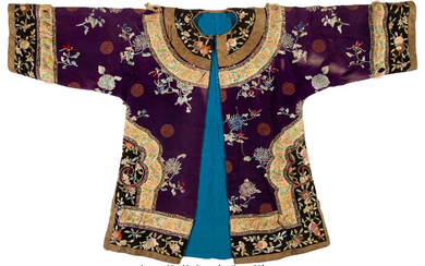 A Chinese Purple Ground Embroidered Floral Silk Robe