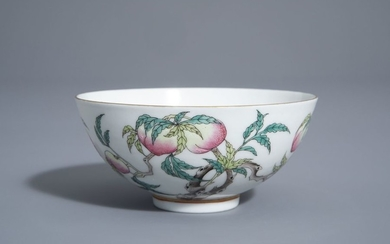 A Chinese famille rose 'nine peaches and crane'...