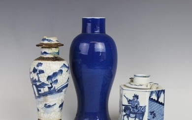 A Chinese porcelain powder vase, 18th century, of baluster f...