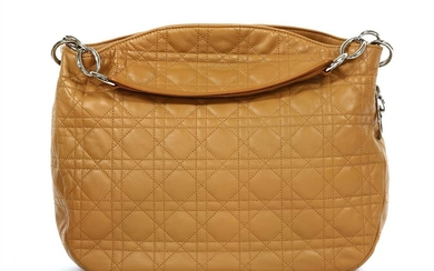 A Christian Dior tan cannage quilted lambskin leather shoulder tote handbag