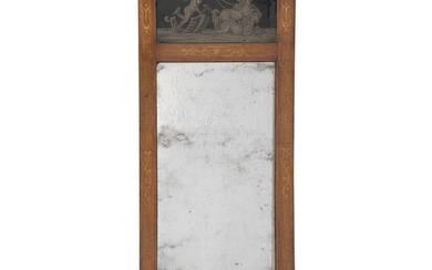 A Danish Empire mahogany mirror. Ca. 1820. H. 158 cm. W. 61 cm.
