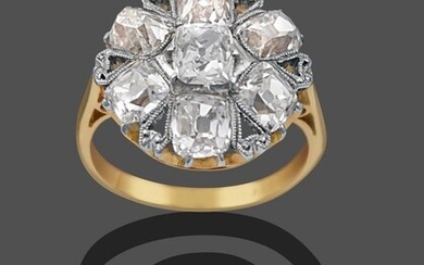 A Diamond Cluster Ring, a cushion shaped old mine cut...