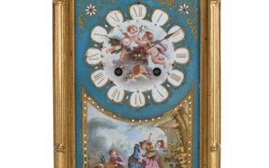 A French Sevres style porcelain and gilt metal mounted mantel clock