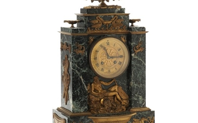 A French marble mantel clock with bronze ornaments. Late 19th century. H. 44 cm.