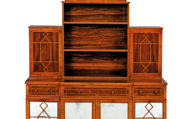 A GEORGE III INDIAN AND BRAZILIAN ROSEWOOD AND TULIPWOOD-BANDED BREAKFRONT CABINET