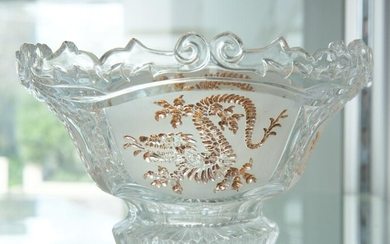 A GLASS BOWL WITH DRAGON MOTIF, 22 CM DIAMETER, LEONARD JOEL LOCAL DELIVERY SIZE: SMALL
