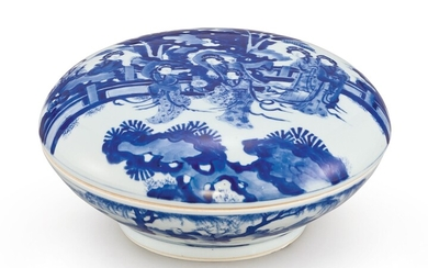 A LARGE BLUE AND WHITE BOX AND COVER QING DYNASTY, KANGXI PERIOD, LANYUTANG MARK