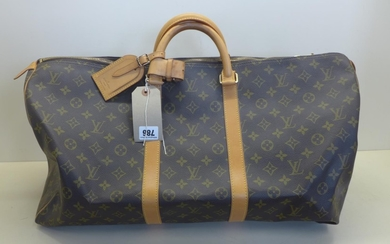 A Louis Vuitton monogram keepall 50 - 56x26x28cm, with padlo...
