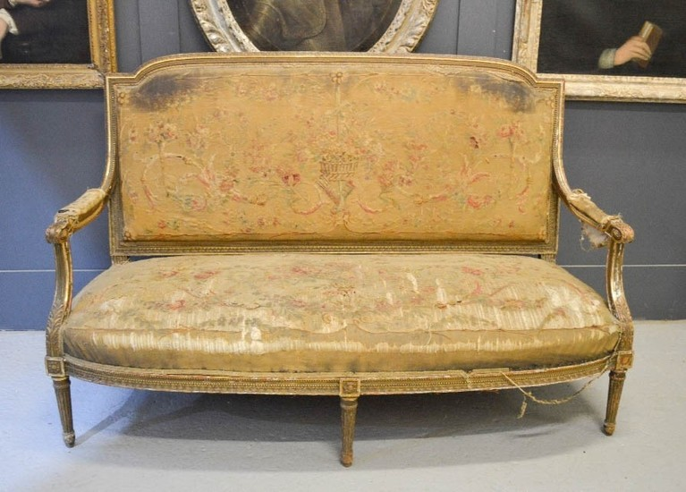 A Louis XIV style 19th century partial gilt needlework Count...
