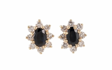 A PAIR OF DIAMOND AND SAPPHIRE CLUSTER EARRINGS, mounted in ...