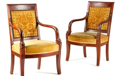A PAIR OF FRENCH RESTORATION MAHOGANY FAUTEUILS EARLY 19TH CENTURY each with a damask padded back with carved dolphin arms, above anthemion tablets, on sabre front legs (2)