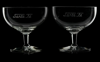 A PAIR OF SANTA FE ETCHED SCRIPT COCKTAIL GLASSES